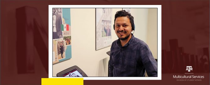 DMS Assistant Director Cruz Ríos poses at the StoryCorps listening station.