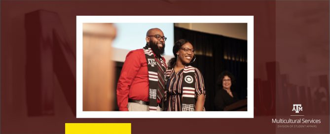 DMS Program Adviser Varselles Cummings stands onstage with student receiving her Kente stole during the Student Success & Multicultural Graduation ceremony