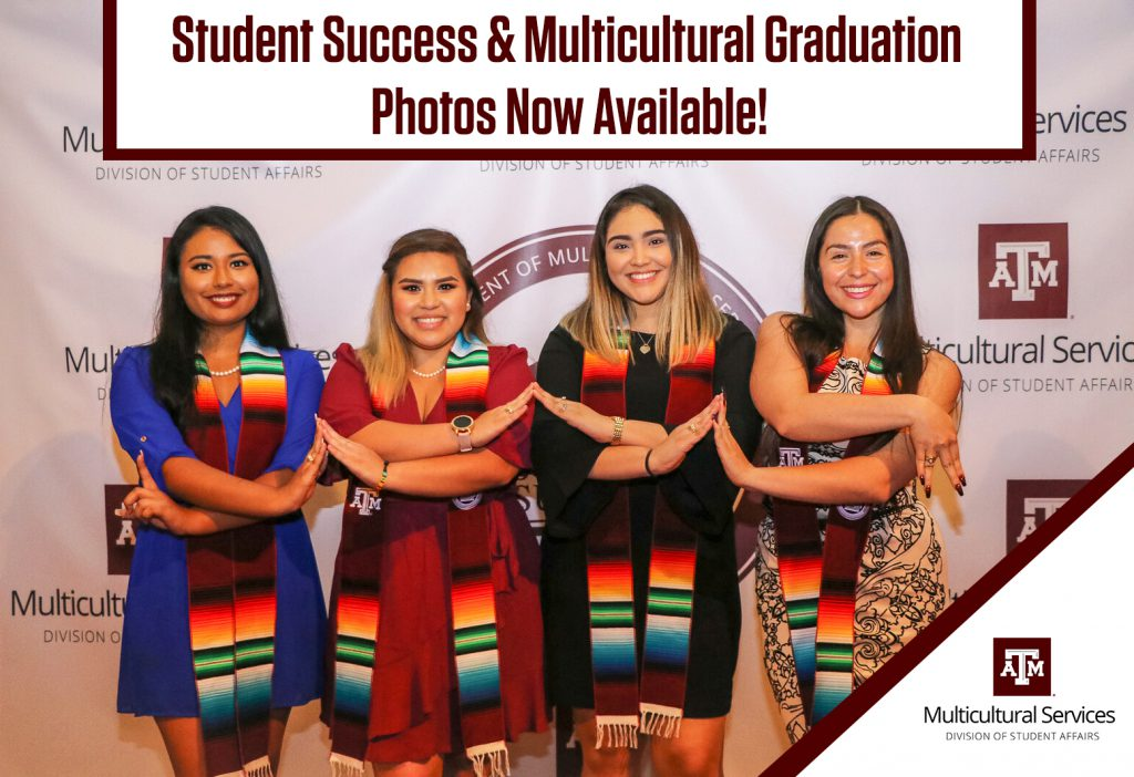 Four students pose with their Sarape stoles at the Student Success & Multicultural Graduation