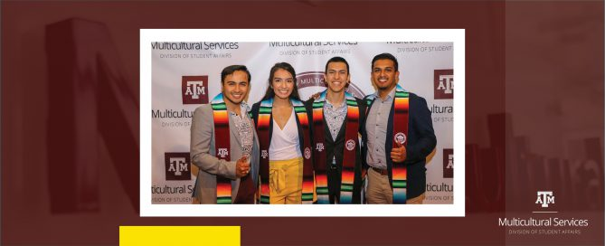 Graduates from the Student Success & Multicultural Graduation pose with their serape stoles
