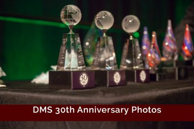 A set of DMS awards sitting on a table