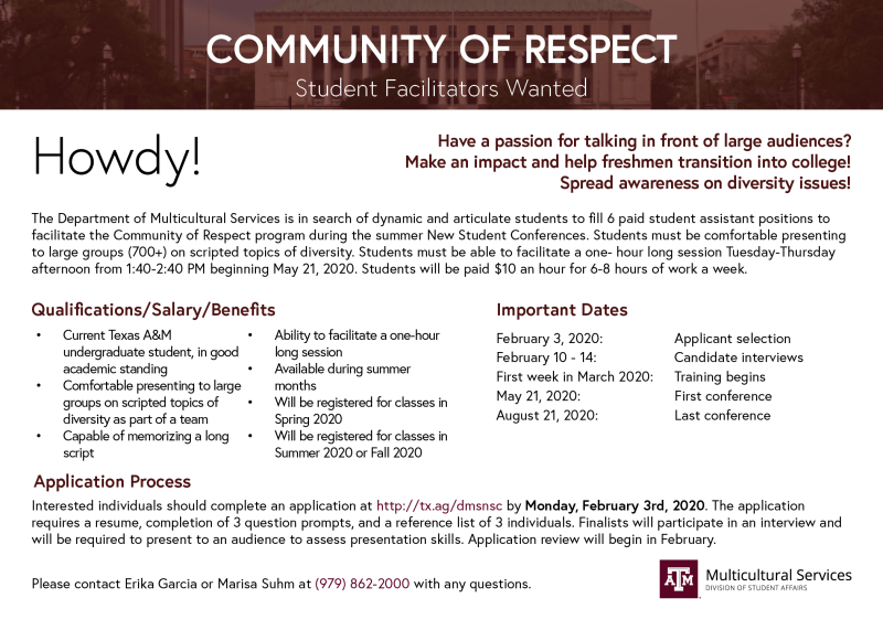 Community of Respect Student Facilitator application deadline