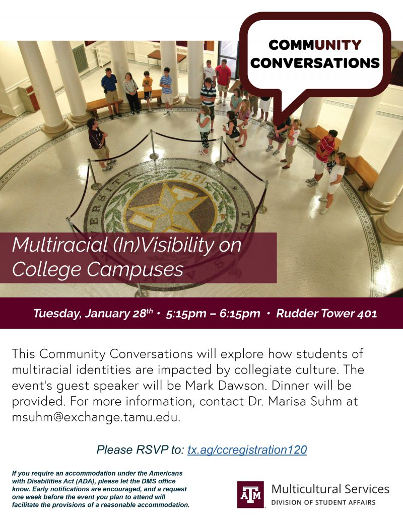 CommUnity Conversations: Multiracial (In)Visibility on College Campuses @ Rudder Tower 401
