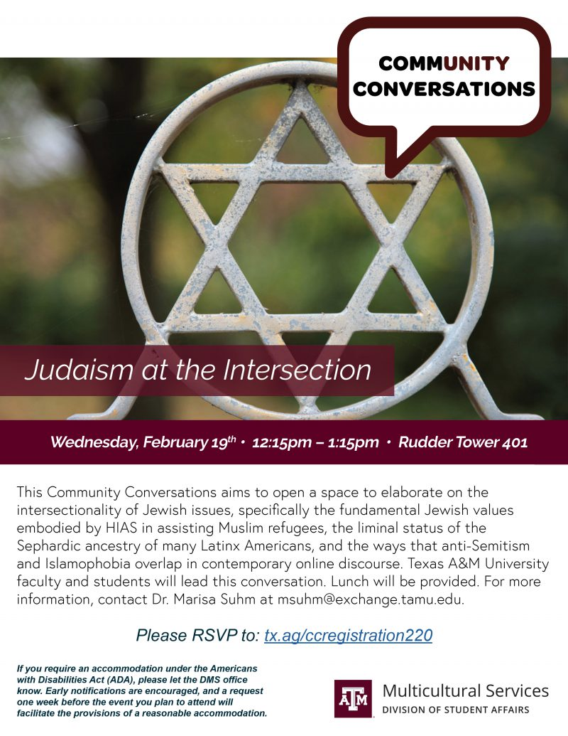 CommUnity Conversations: Judaism at the Intersection @ Rudder Tower 401