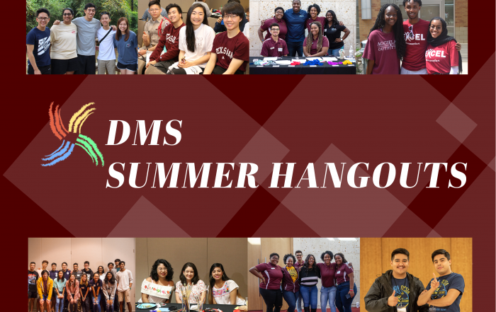 DMS Summer Hangouts graphic. Features numerous students