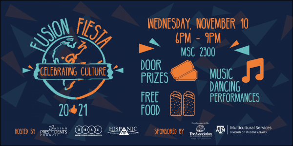 Fusion Fiesta 2021. Celebrating Culture. Wednesday, November 10, 6:00 pm to 9:0 pm.